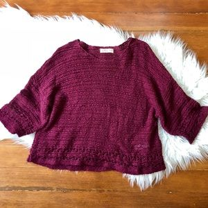 Boho Style Maroon Knit Sweater Flare Sleeves